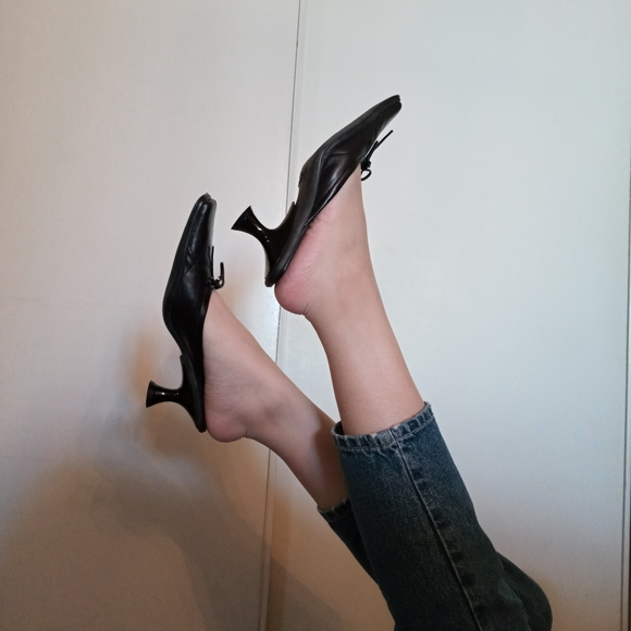 Black Leather Kitten Heel Mules